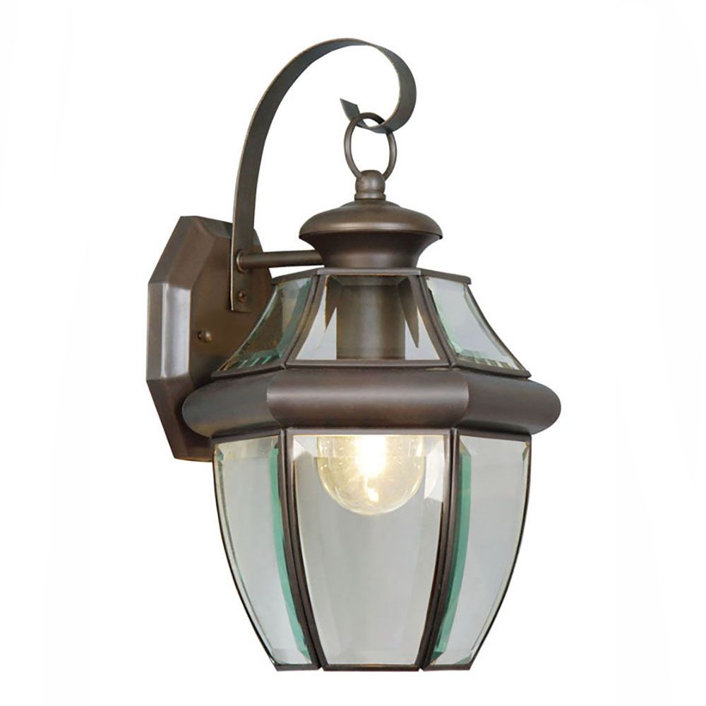 Providence 1-Light Bronze Wall Lantern with Clear Flat Glass