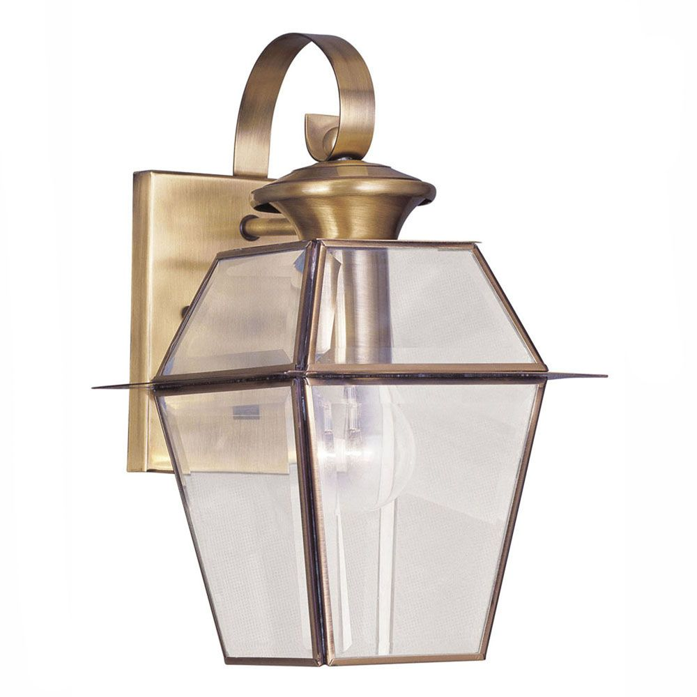 Providence 1 Light Antique Brass Incandescent Wall Lantern with Clear Beveled Glass CLI-LTG2181-01 Canada Discount