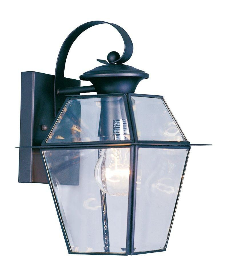 Providence 1 Light Black Incandescent Wall Lantern with Clear Beveled Glass