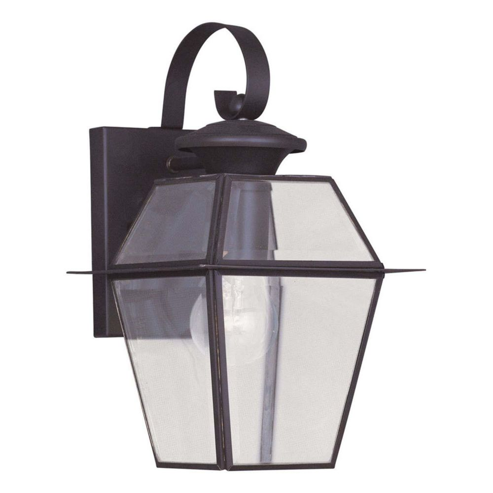 Providence 1-Light Bronze Wall Lantern with Clear Beveled Glass