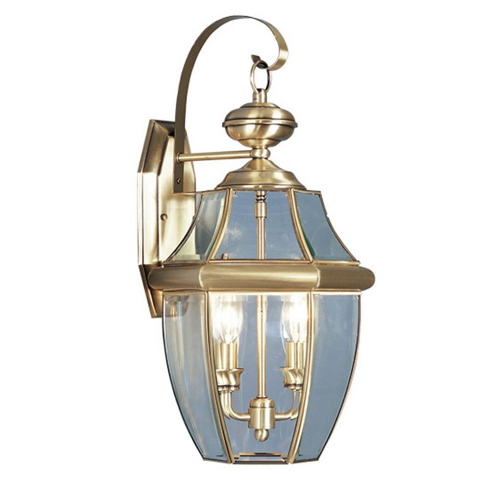 Providence 2-Light Antique Brass Wall Lantern with Clear Beveled Glass