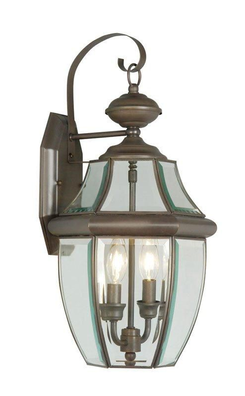 Providence 2-Light Bronze Wall Lantern with Clear Beveled Glass