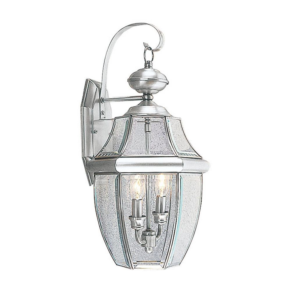 Providence 2-Light Brushed Nickel Wall Lantern with Clear Beveled Glass
