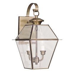 Illumine Providence 2 Light Antique Brass Incandescent Wall Lantern with Clear Beveled Glass