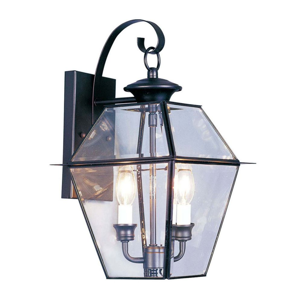Providence 2 Light Black Incandescent Wall Lantern with Clear Beveled Glass