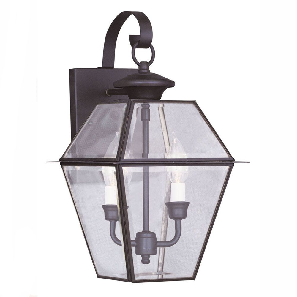 Providence 2 Light Bronze Incandescent Wall Lantern with Clear Beveled Glass