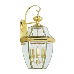 Illumine Providence 3 Light Bright Brass Incandescent Wall Lantern with Clear Beveled Glass
