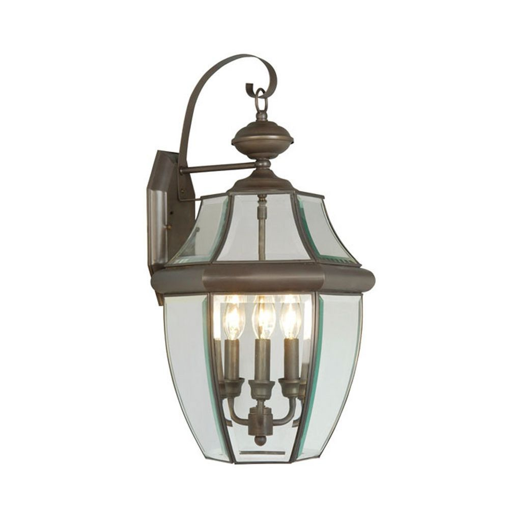 Providence 3 Light Bronze Incandescent Wall Lantern with Clear Beveled Glass