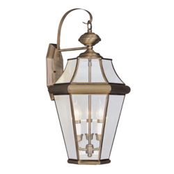 Illumine Providence 3 Light Antique Brass Incandescent Wall Lantern with Clear Beveled Glass