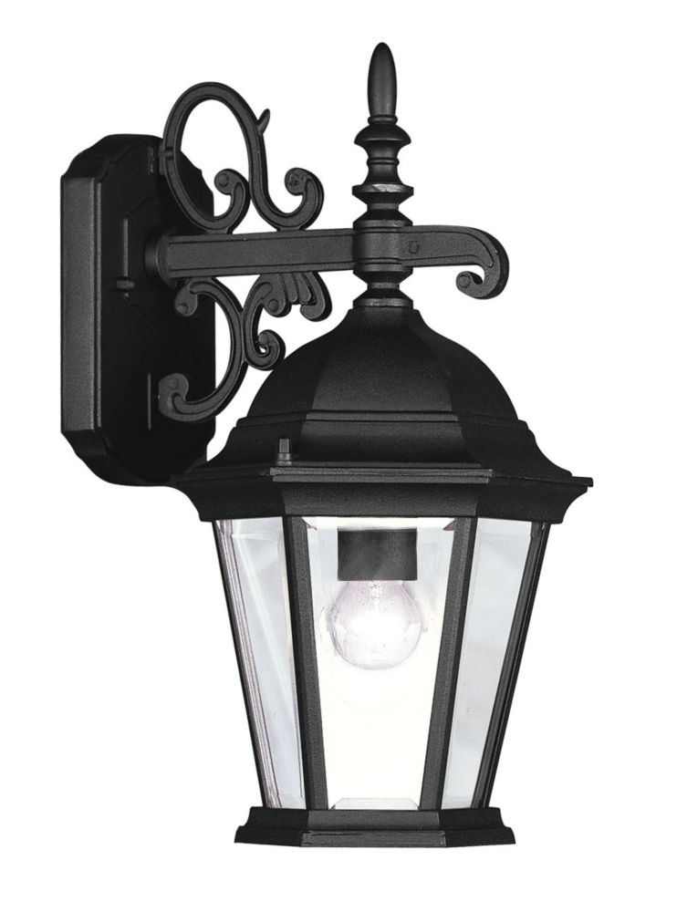 Providence 1 Light Black Incandescent Wall Lantern with Clear Beveled Glass CLI-LTG7555-04 Canada Discount