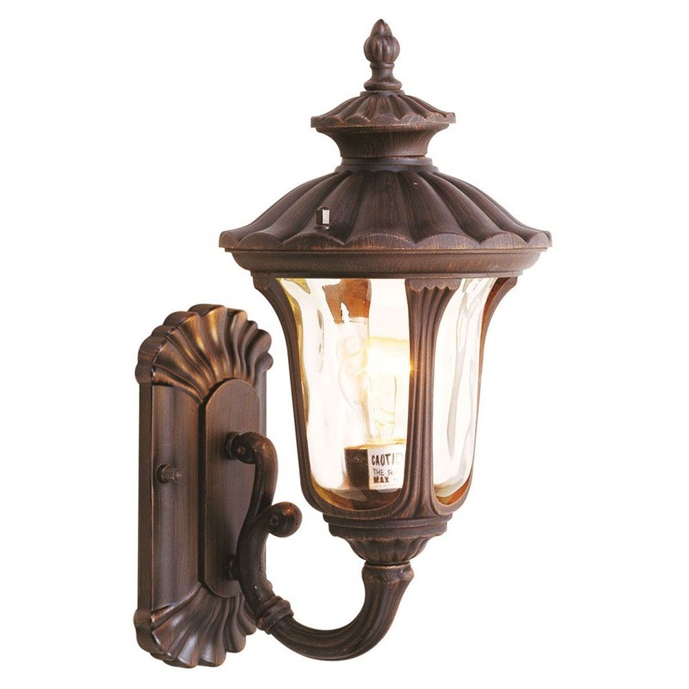 Providence 1-Light Bronze Wall Lantern with Light Amber Water Glass