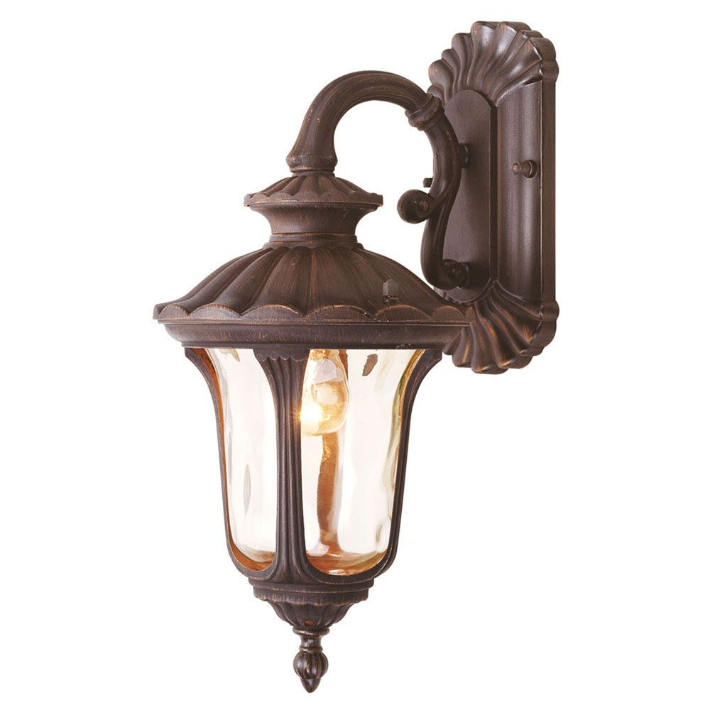 Providence 1 Light Bronze Incandescent Wall Lantern with Light Amber Water Glass