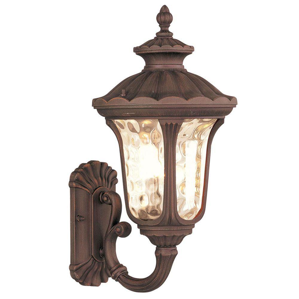 Providence 1-Light Bronze Wall Lantern with Light Amber Water Glass