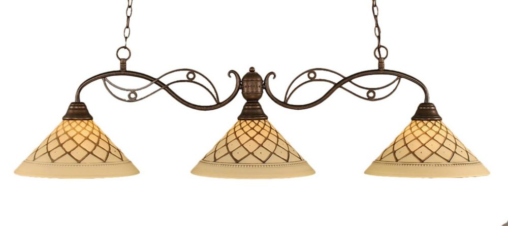 Concord 3 Light Ceiling Bronze Incandescent Billiard Bar with a Chocolate Icing Glass