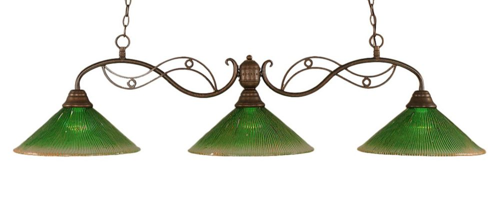 Concord 3 Light Ceiling Bronze Incandescent Billiard Bar with a Green Crystal Glass