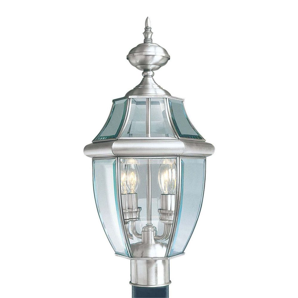 Providence 2-Light Brushed Nickel Post Head with Clear Beveled Glass