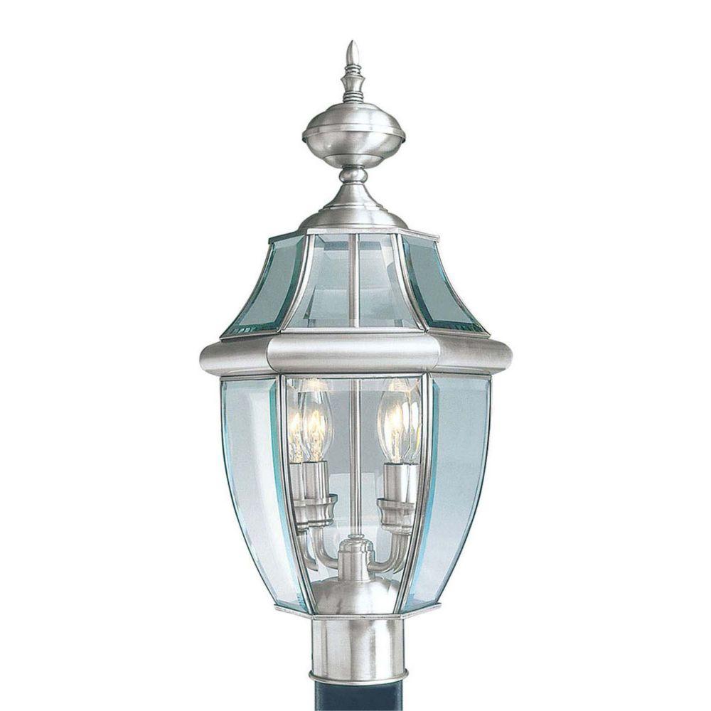 pilier monture lumière avec abat-jour clair couleur en argent