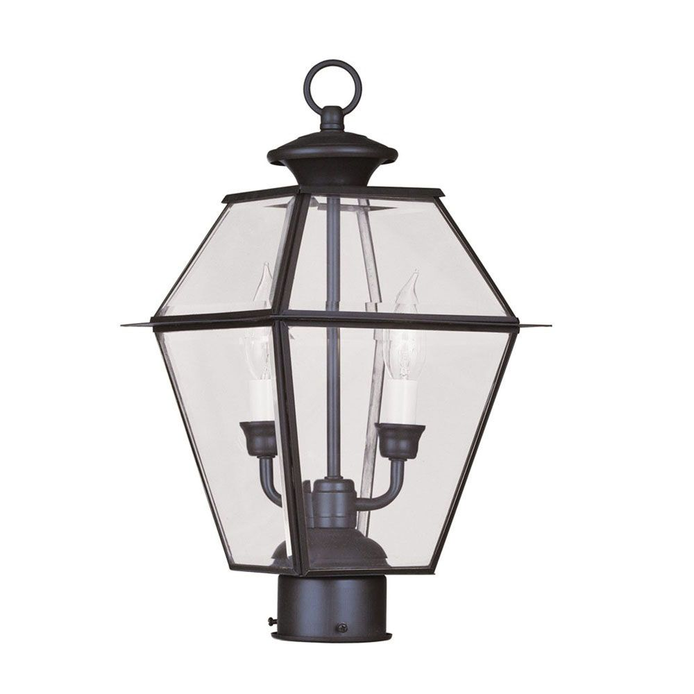 Providence 2 Light Bronze Incandescent Post Head with Clear Beveled Glass