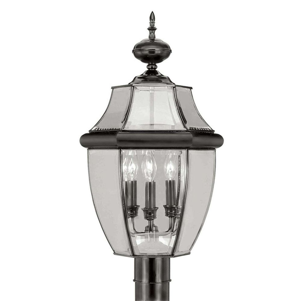 Providence 3 Light Black Incandescent Post Head with Clear Beveled Glass CLI-LTG2354-04 Canada Discount