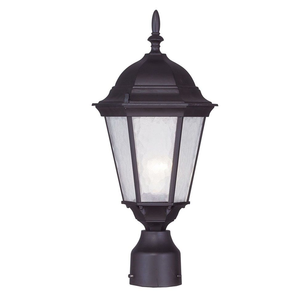Providence 1-Light Bronze Post Head with Clear Water Glass