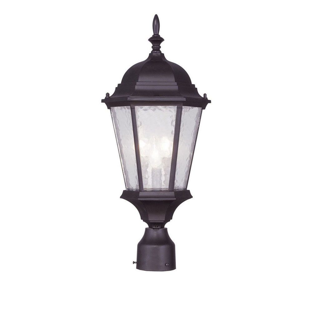 Providence 3-Light Bronze Post Head with Clear Water Glass
