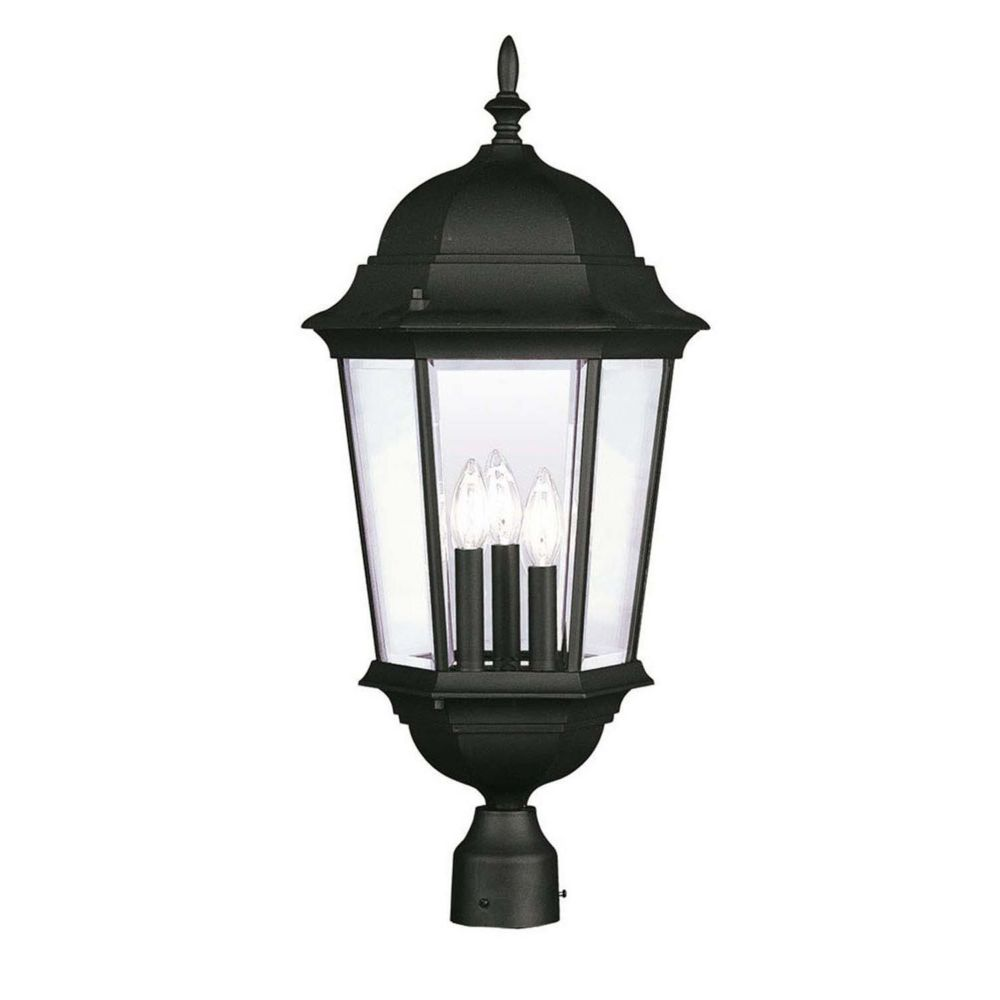 Providence 3-Light Black Post Head with Clear Beveled Glass