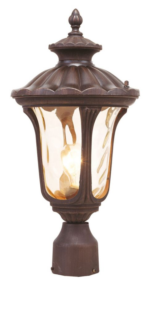 Providence 1-Light Bronze Post Head with Light Amber Water Glass