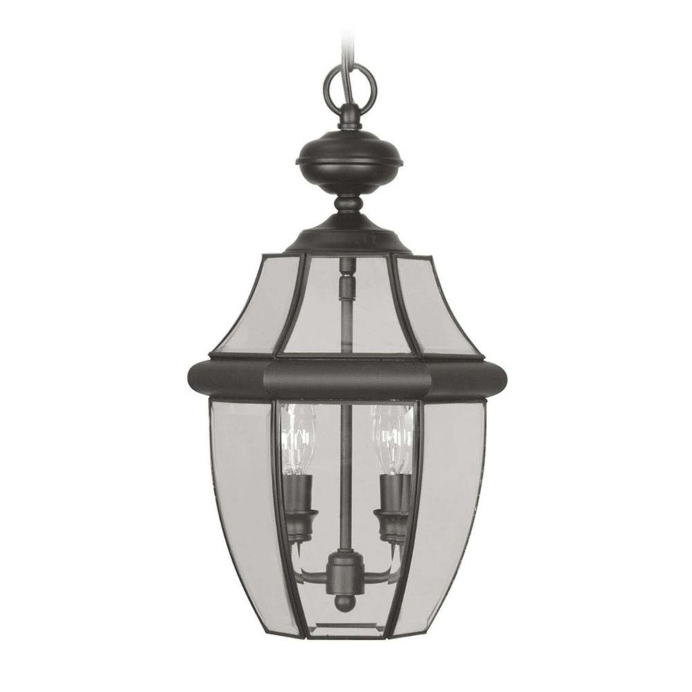 Providence 2 Light Black Incandescent Pendant with Clear Beveled Glass