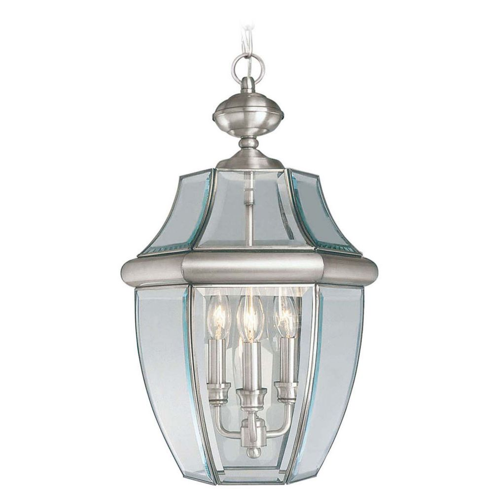 Providence 3 Light Brushed Nickel Incandescent Pendant with Clear Beveled Glass CLI-LTG2355-91 Canada Discount