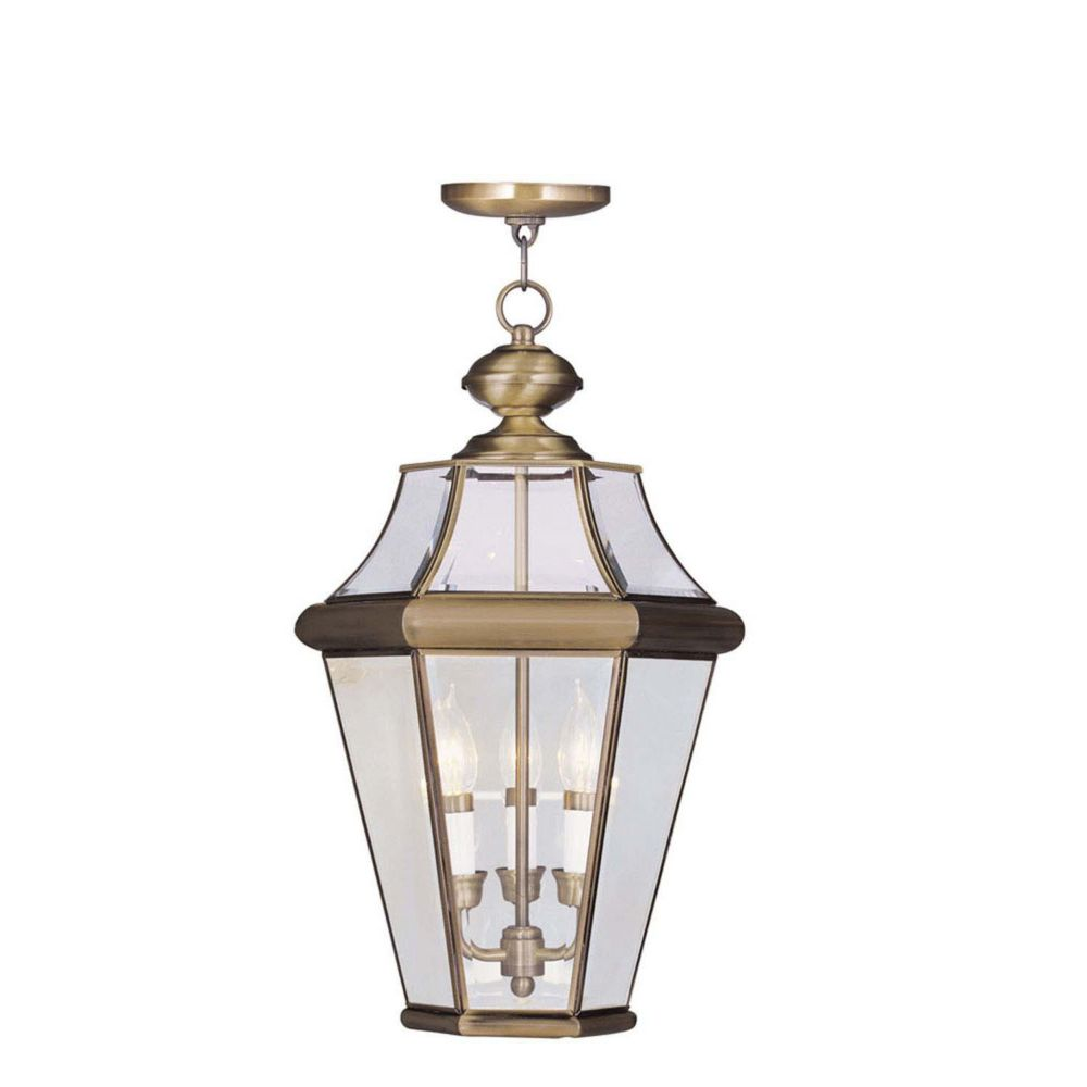 Illumine Providence 3 Light Antique Brass Incandescent Pendant with Clear Beveled Glass