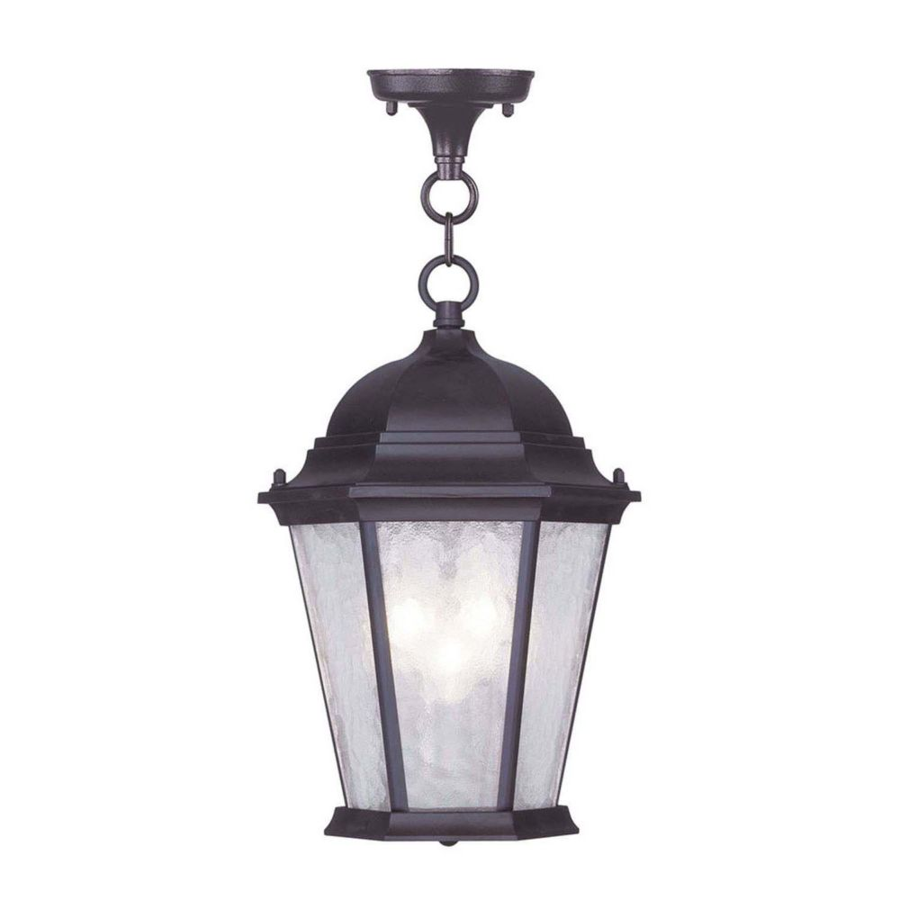 Providence 3-Light Bronze Pendant with Clear Water Glass