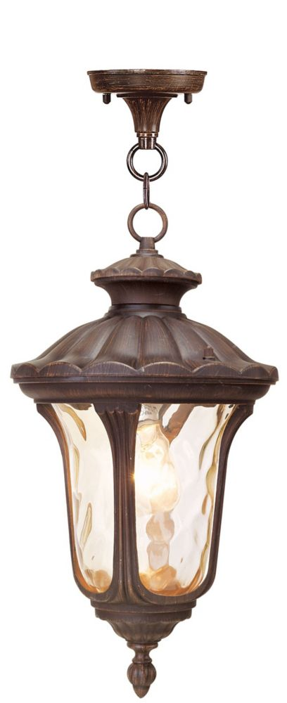 Providence 1 Light Bronze Incandescent Pendant with Light Amber Water Glass