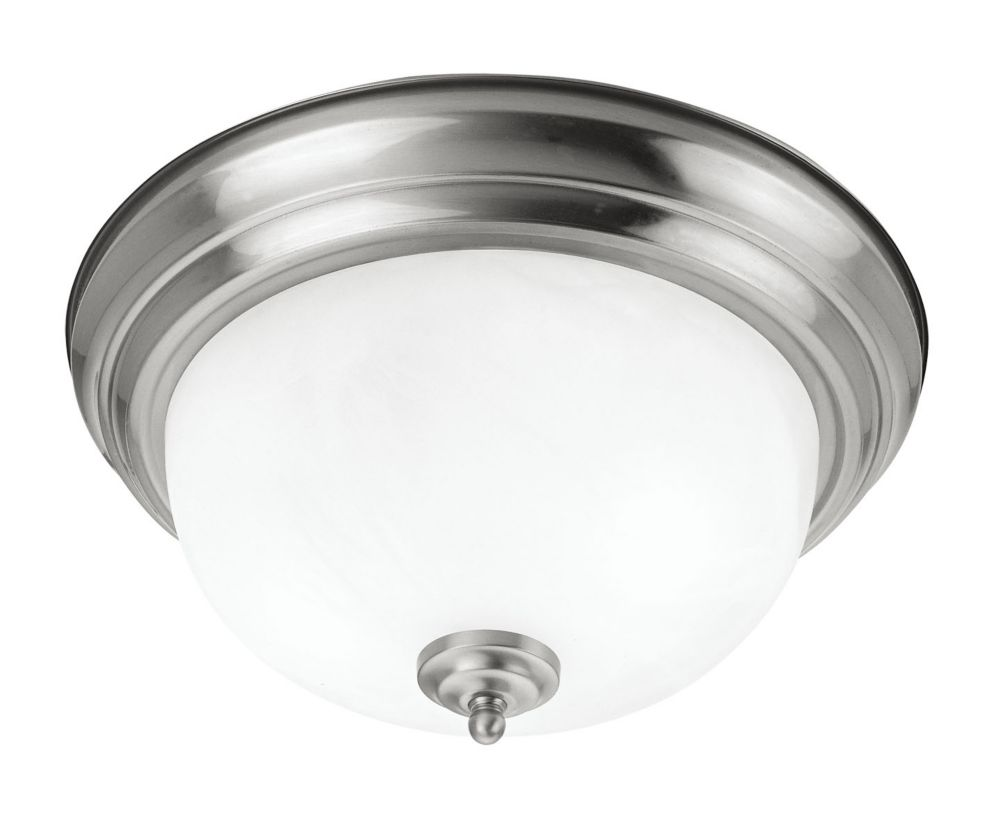 Providence 3 Light Brushed Nickel Incandescent Semi Flush Mountwith White Alabaster Glass
