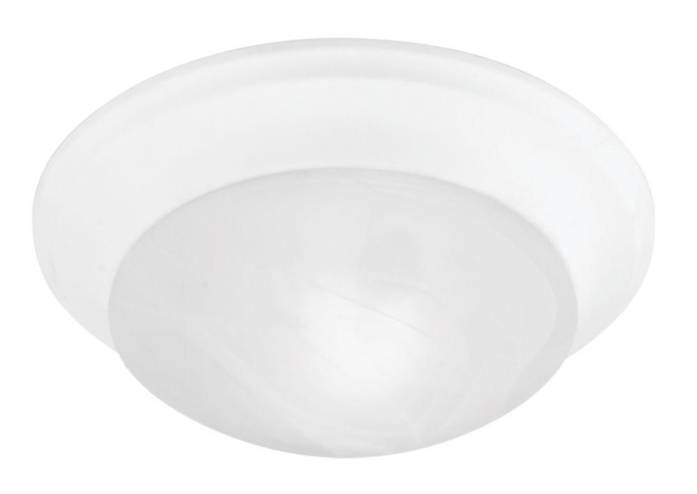 Providence 1-Light White Semi Flush Mount with White Alabaster Glass