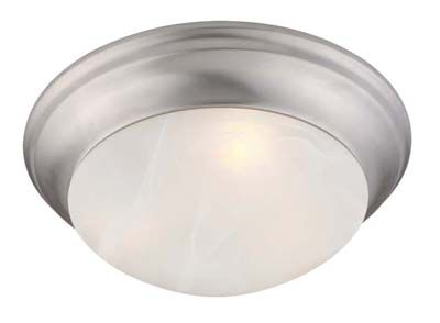 Providence 1-Light Brushed Nickel Semi Flush Mount with White Alabaster Glass