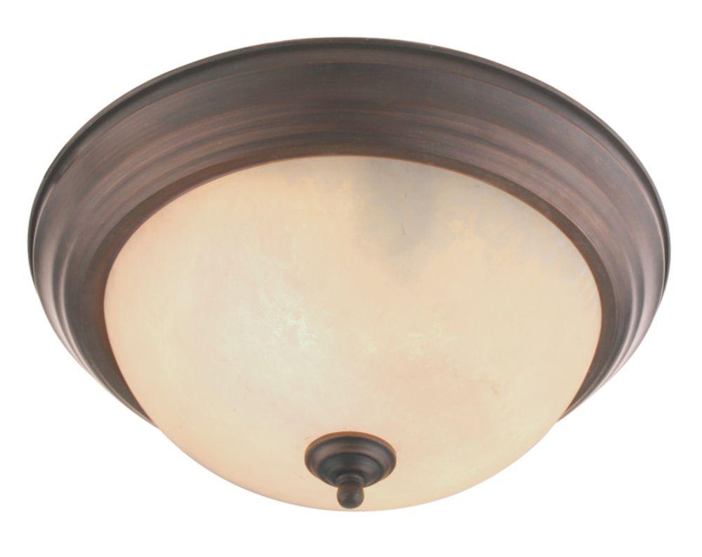 Providence 2-Light Bronze Semi Flush Mount with Vintage Scavo Glass