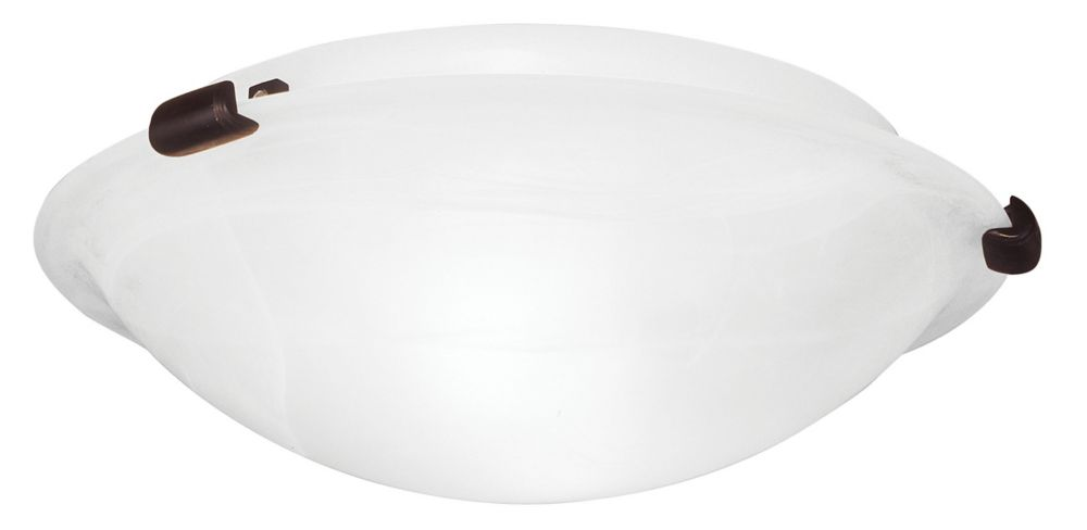 Providence 2-Light Bronze Semi Flush Mount with White Alabaster Glass