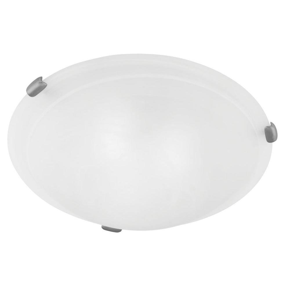 Providence 2 Light Brushed Nickel Incandescent Semi Flush Mountwith White Alabaster Glass