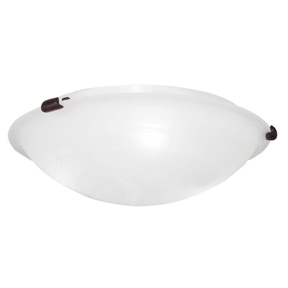 Providence 3-Light Bronze Semi Flush Mount with White Alabaster Glass
