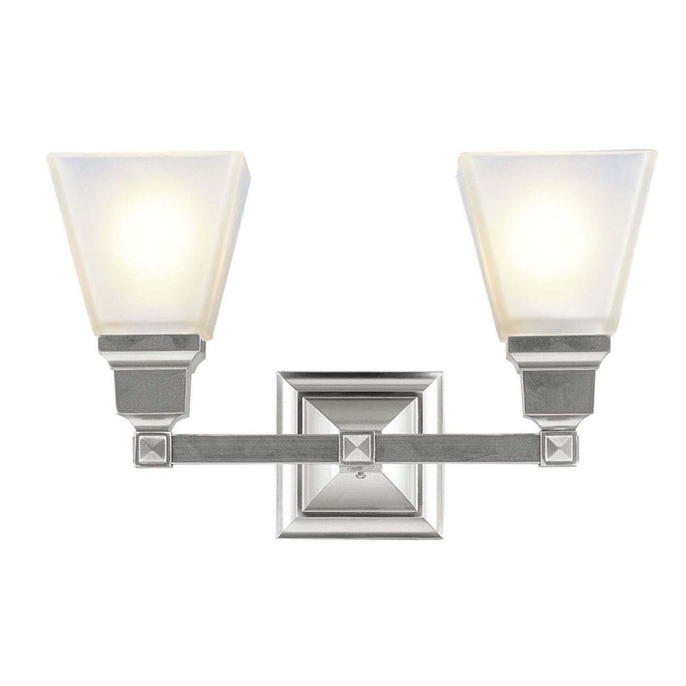 Providence 2 Light Brushed Nickel Incandescent Bath Vanity with Frosted Glass