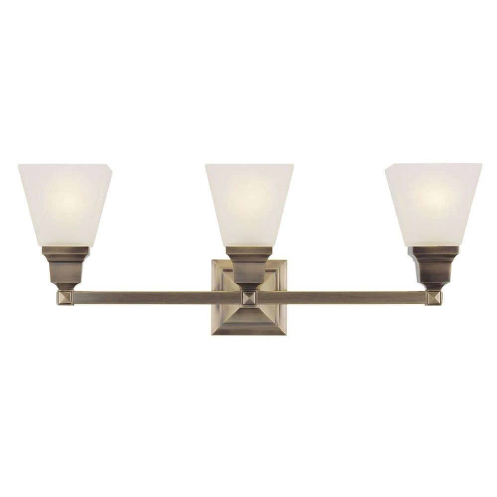 Providence 3 Light Antique Brass Incandescent Bath Vanity with Satin Glass