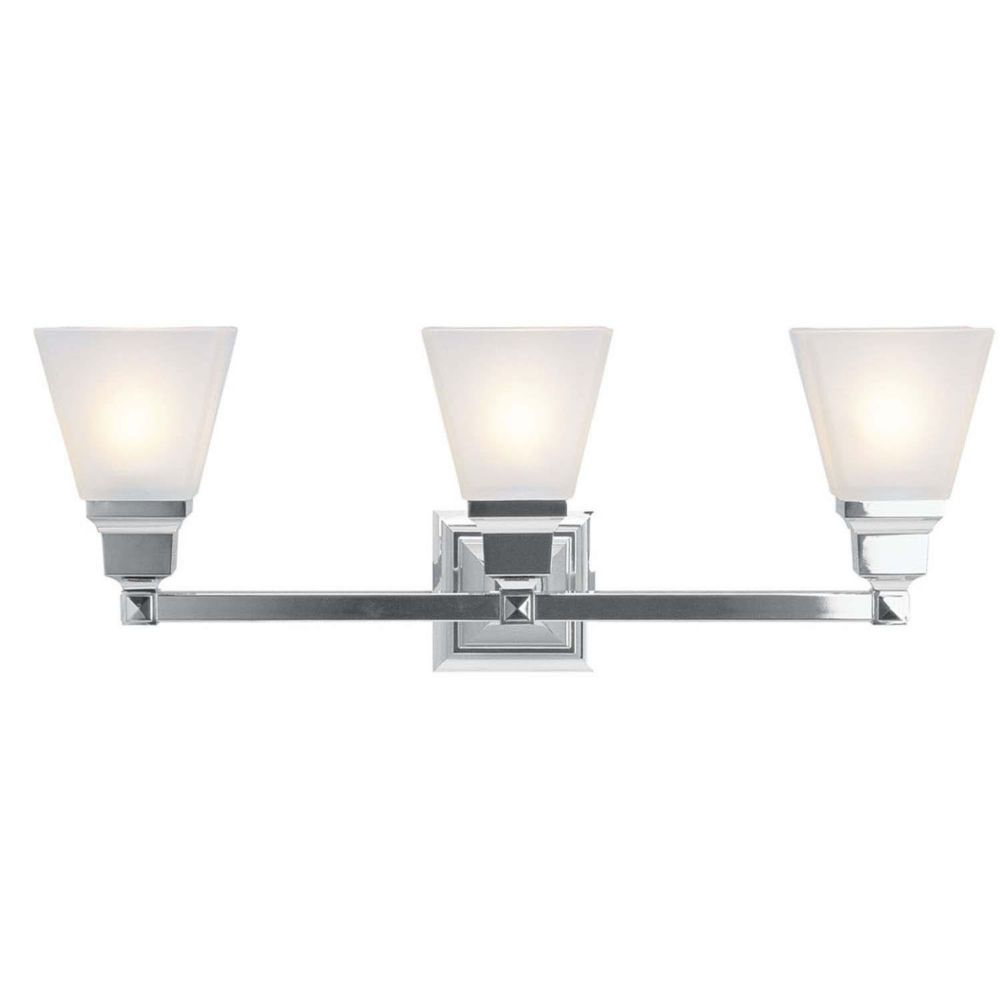 Providence 3 Light Chrome Incandescent Bath Vanity with White Frosted Glass
