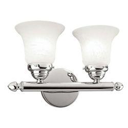 Illumine Providence 2 Light Chrome Incandescent Bath Vanity with White Alabaster Glass