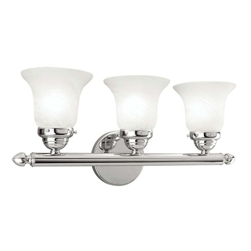Providence 3 Light Chrome Incandescent Bath Vanity with White Glass