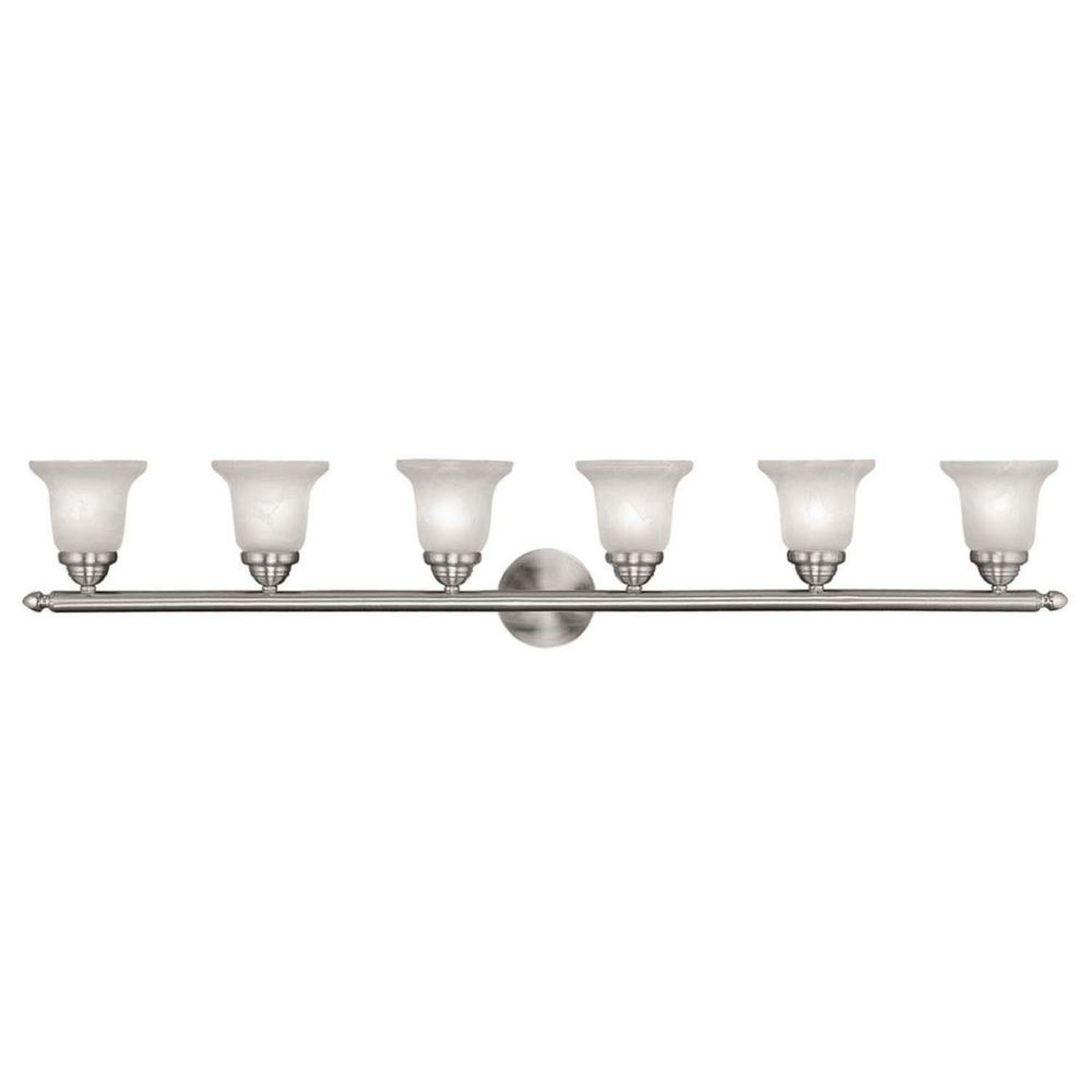 Providence 6 Light Brushed Nickel Incandescent Bath Vanity with Alabaster Glass