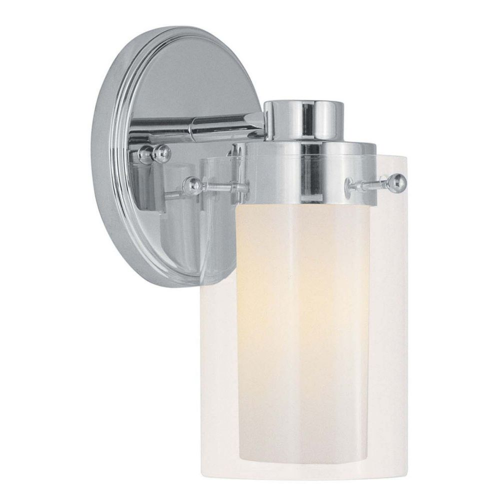 Providence 1-Light Chrome Bath Vanity with Clear Outside and Opal Inside Glass