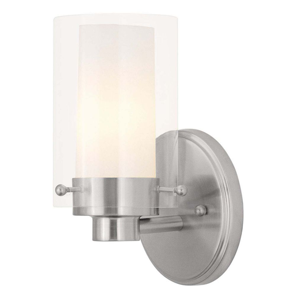 Providence 1-Light Brushed Nickel Bath Vanity with Clear Outside and Opal Inside Glass