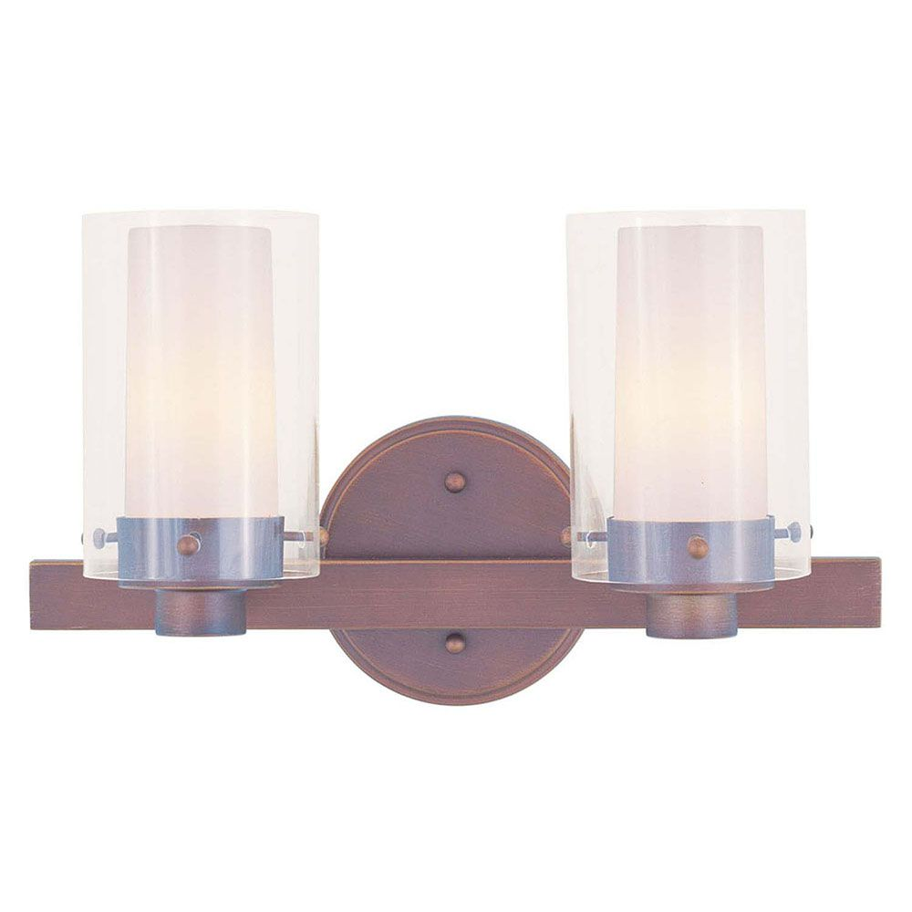 Providence 2 Light Bronze Incandescent Bath Vanity with Clear Outside and Opal Inside Glass CLI-LTG1542-70 Canada Discount