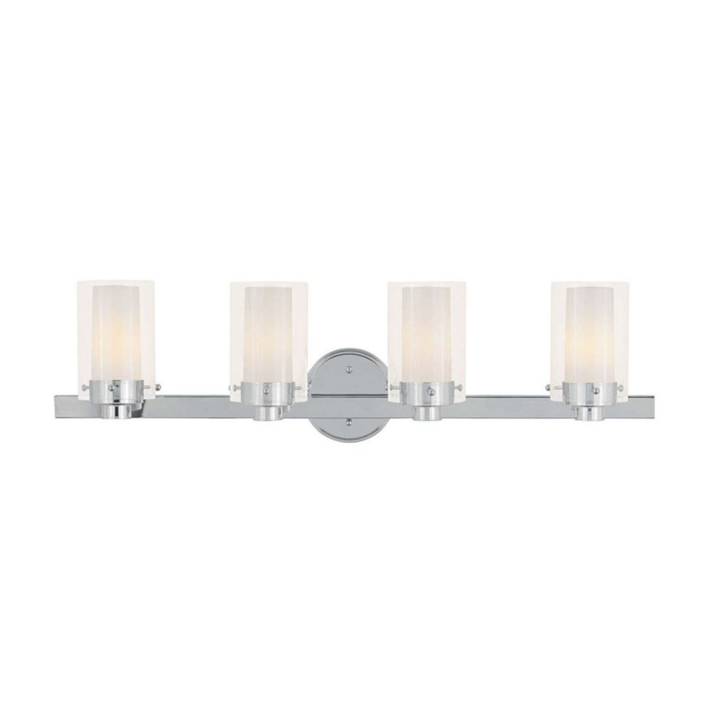 Providence 4-Light Chrome Bath Vanity with Clear Outside and Opal Inside Glass