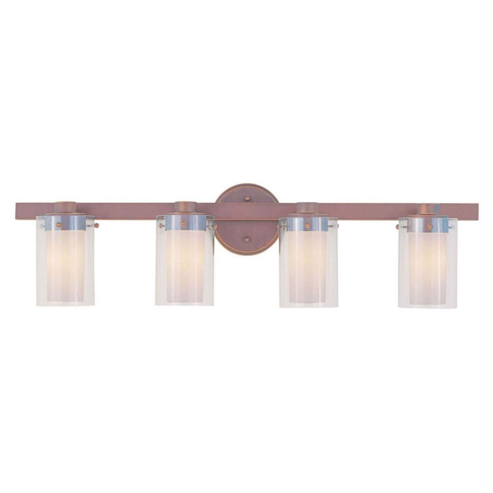 Providence 4 Light Bronze Incandescent Bath Vanity with Clear Outside and Opal Inside Glass CLI-LTG1544-70 Canada Discount